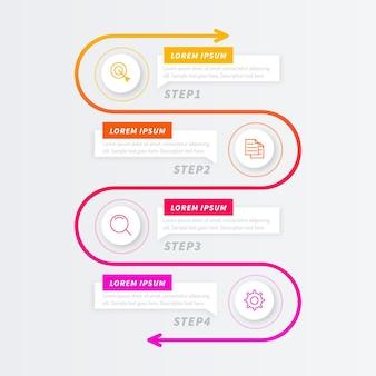 Градиентный процесс инфографики шаблон