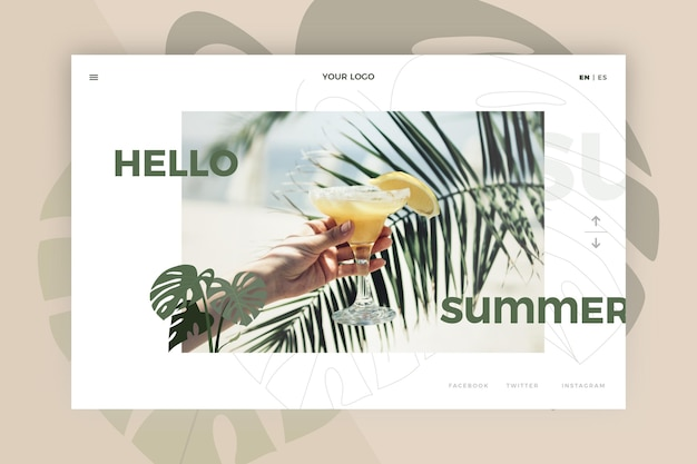 Привет лето дизайн целевой страницы