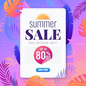 Плоский дизайн летняя распродажа баннер