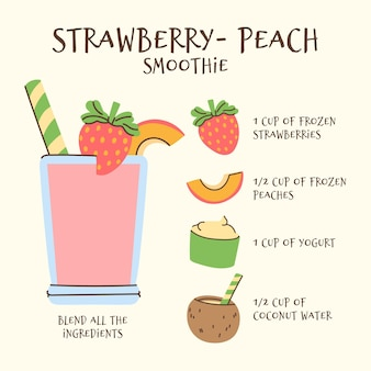 Здоровый клубнично-персиковый коктейль рецепт иллюстрации