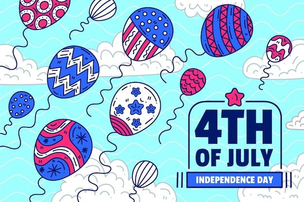 День независимости фон с воздушными шарами