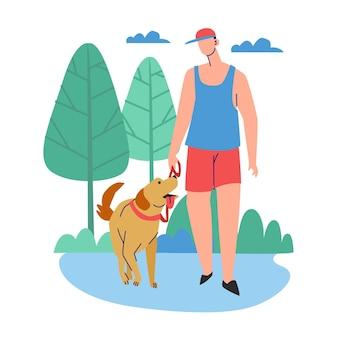 外で犬を散歩する人