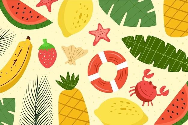 フルーツと夏の背景