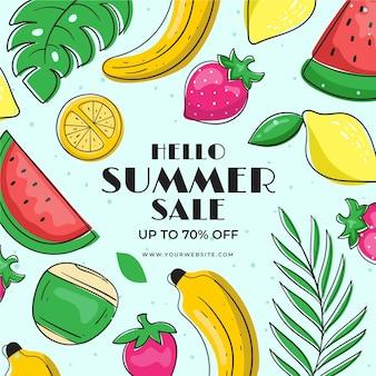 Летняя распродажа с фруктами