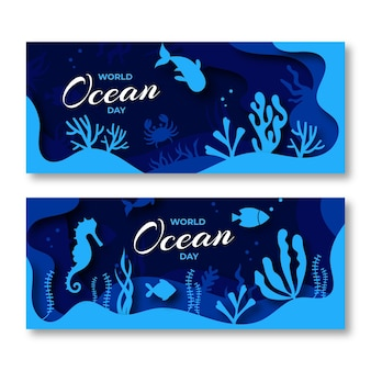 Баннеры всемирного дня океанов в бумажном стиле с рыбой