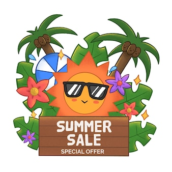 Летняя распродажа с солнцем и пальмами
