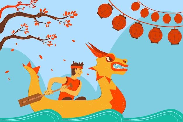 男とドラゴンボートの壁紙