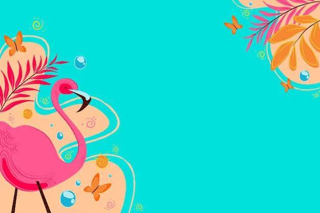 Летний фон с фламинго и водой