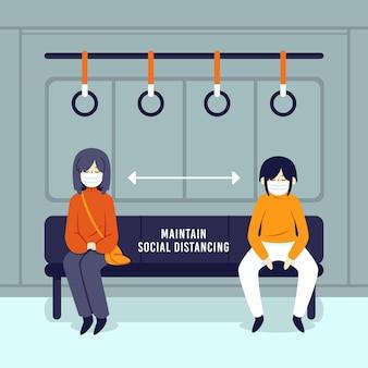 Социальное дистанцирование в общественном транспорте для безопасности