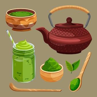 Матча чайная коллекция иллюстрации набор