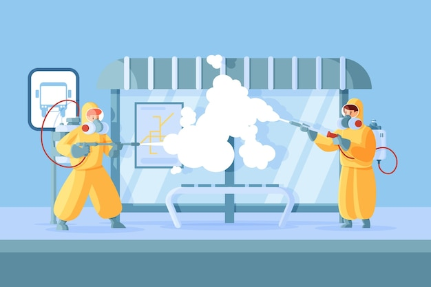 公共スペースで清掃サービスを提供する労働者
