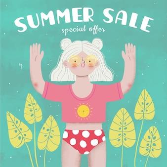 Летняя распродажа с женщиной и листьями