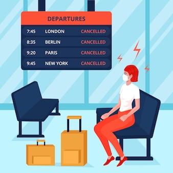 女性と荷物の欠航