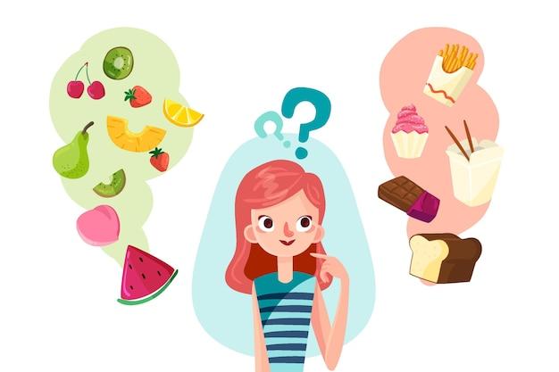 健康食品または不健康な食品を選択する女性