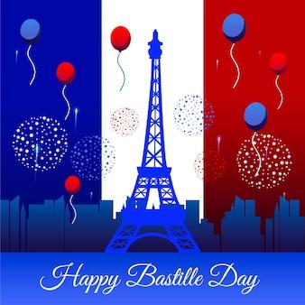 手描きの背景フランス革命記念日