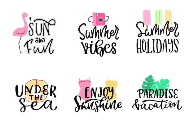 Пакет надписей летних значков