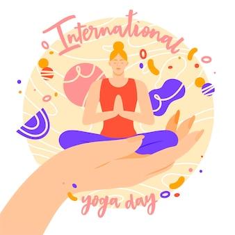 Международный день йоги иллюстрированный стиль