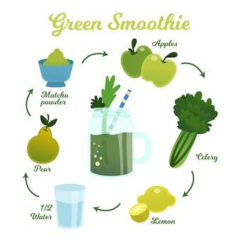 Концепция рецепта здорового смузи