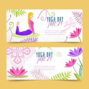 Международный день йоги баннеры шаблона