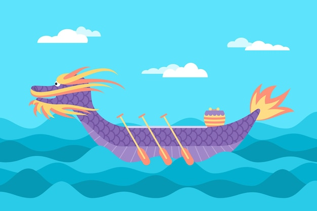 フラットなデザインのドラゴンボートの背景