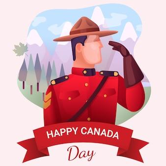 パークレンジャーと山のカナダの日