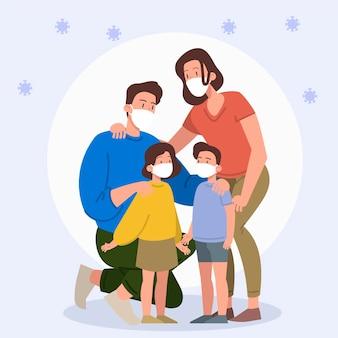 Семья с медицинскими масками защищена от вируса