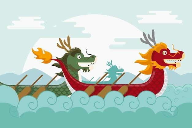 Обои с лодкой-драконом