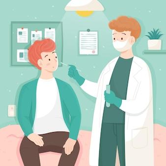 鼻腔スワブテストを受ける医師