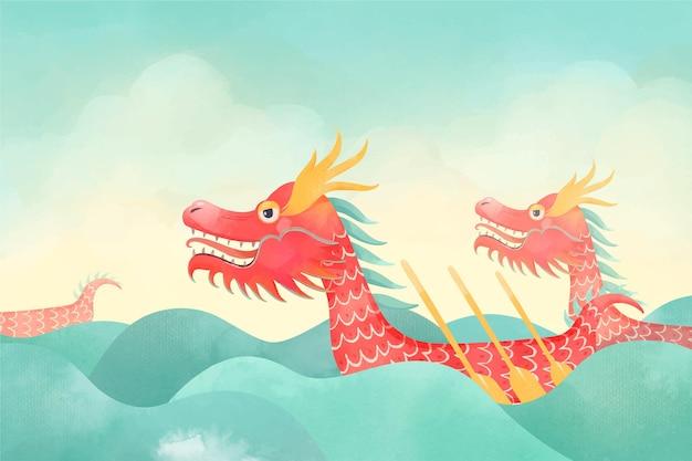 Акварель дракон лодка фон
