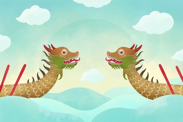 Акварель лодка дракона обои