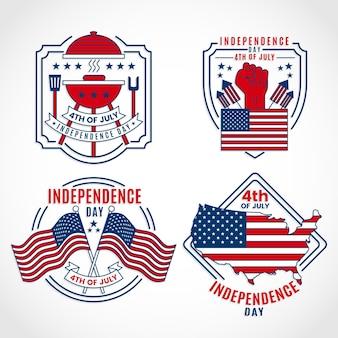 フラットデザイン米国独立記念日バッジ