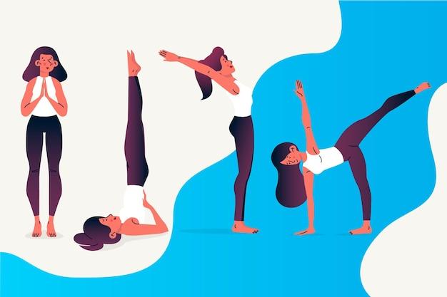 Рисованной люди делают йоги