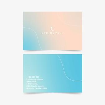 Пастельный градиентный дизайн визитной карточки