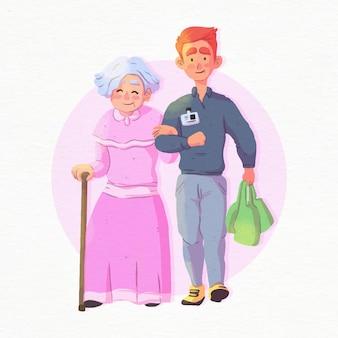 Волонтер помогает пожилой женщине