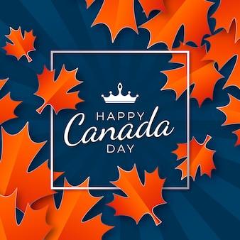 Счастливый день канады с рамой и кленовыми листьями