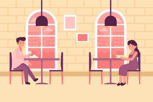 Социальный дистанционный дизайн ресторана