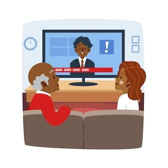 Люди смотрят новостной бюллетень по телевизору