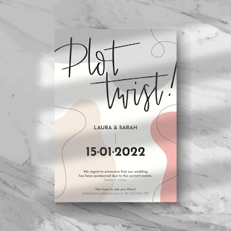 Типографский отложенный дизайн свадебной открытки