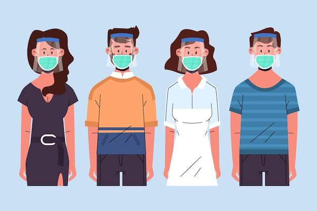 顔のシールドとマスクのコンセプトを使用している人々