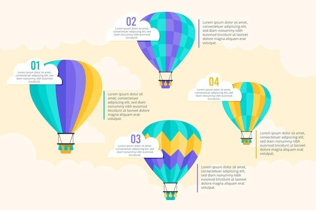 Воздушный шар инфографики в плоском дизайне