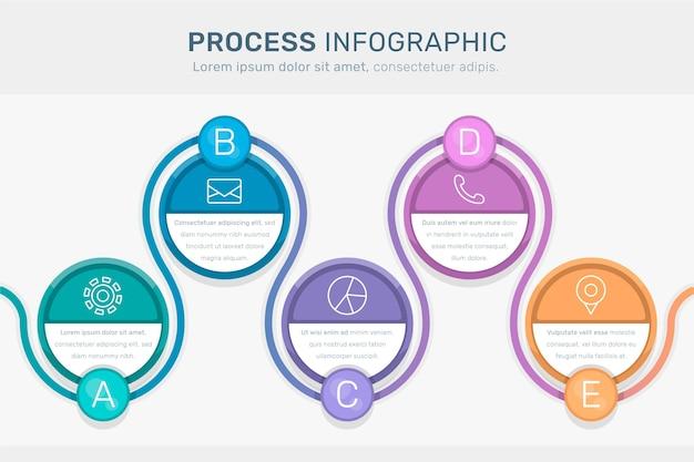 フラットデザインのプロセスインフォグラフィック