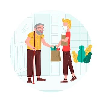 Добровольцы помогают пожилым людям