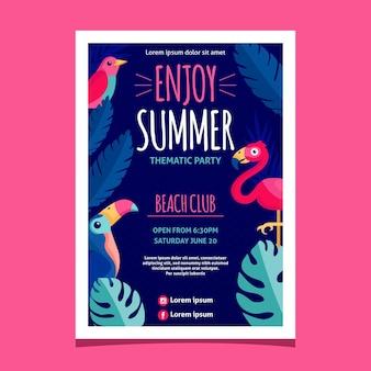 フラットなデザインは夏のパーティーのポスターをお楽しみください
