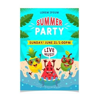 フラットなデザインの夏のパーティーライブ音楽ポスター
