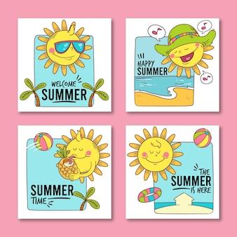 Коллекция рисованной летних карт