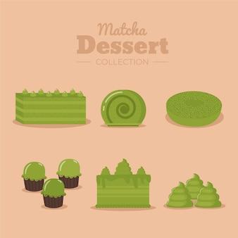 Концепция коллекции десертов матча