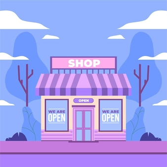 Повторное открытие иллюстрации со знаком магазина