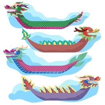 Набор рисованной лодок-драконов