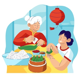 Плоский дизайн семьи готовит цзунцзы