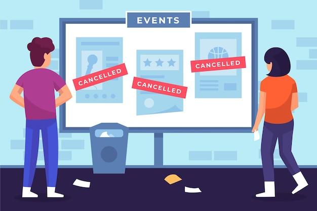 さまざまなイベントのキャンセルのお知らせを示す